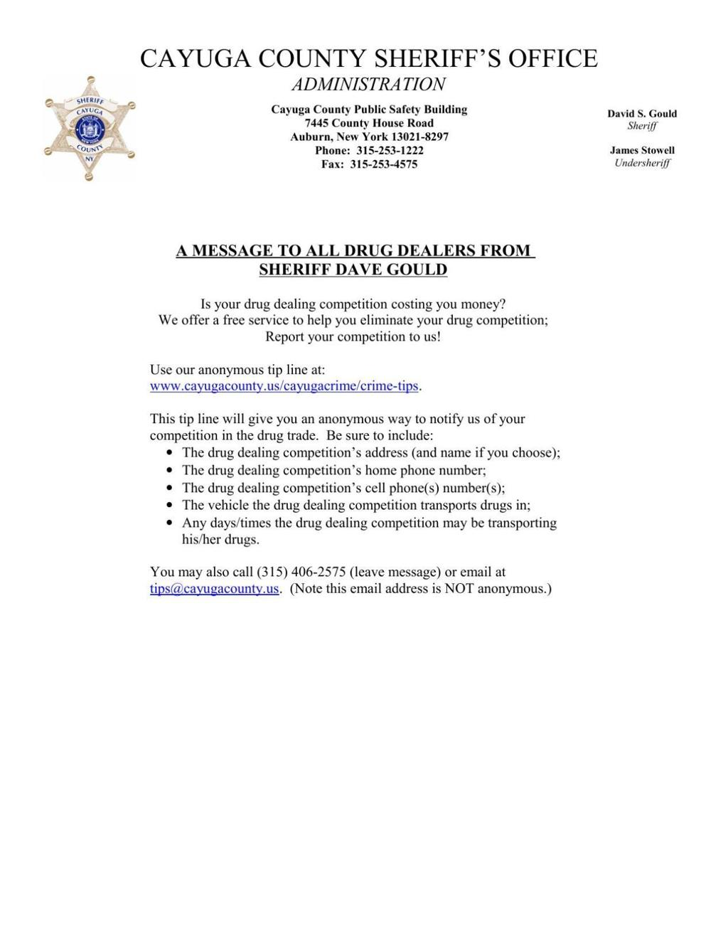 Cayuga County Sheriff's Office to drug dealers: Turn your