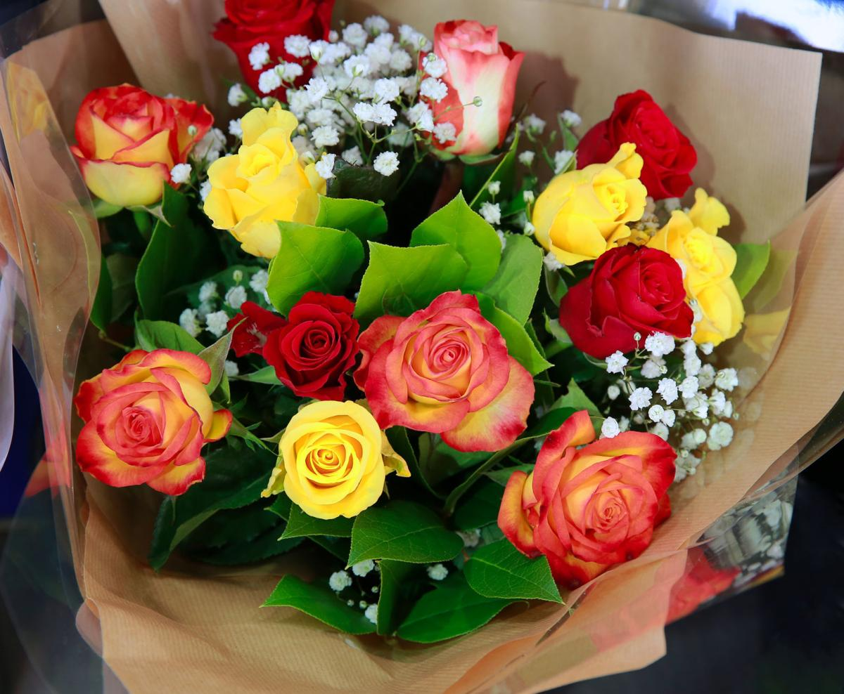 Beautiful bouquet of flowers in the shop