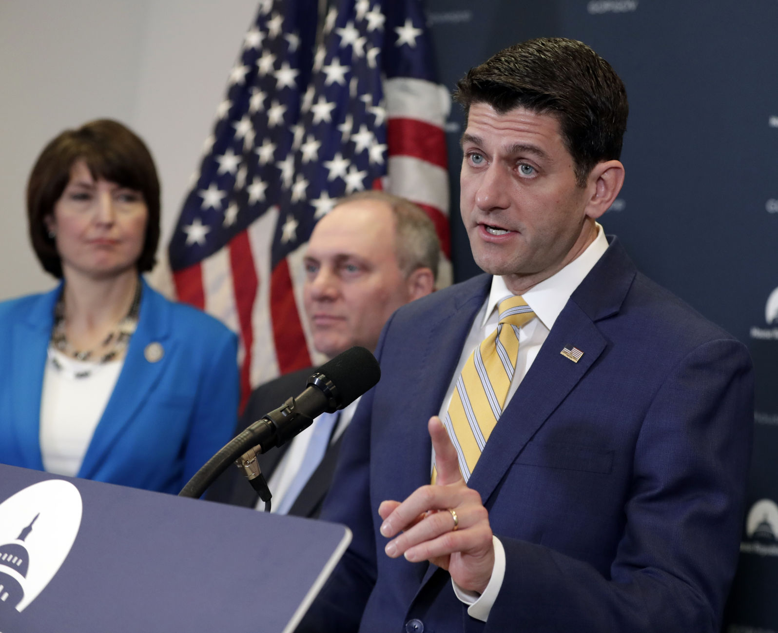 Cathy McMorris Rodgers R-Wash. and House Majority Whip Steve Scalise R-La. meets with reporters following a closed-door Republican strategy session ...  sc 1 st  Auburnpub.com & GOP lawmakers business groups pressure Trump on tariffs | State ...