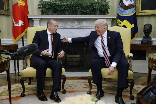 The Latest: Trump says 'honor' to welcome Turkey's president