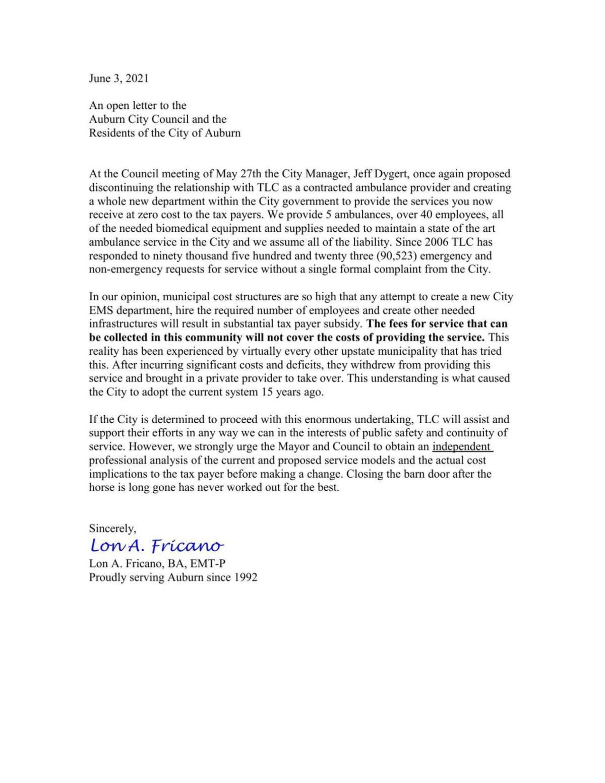 Lon Fricano letter