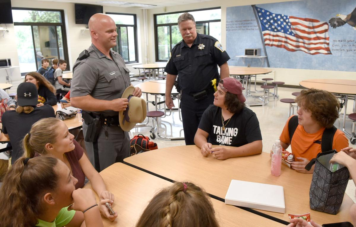 State trooper in school