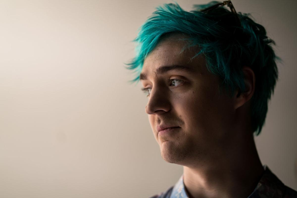 "Tyler Blevins known as the immensely popular game streamer ""Ninja,"" films a commercial for Samsung at Thunder Studios on Thursday, April 11, 2019 in Long Beach, Calif."