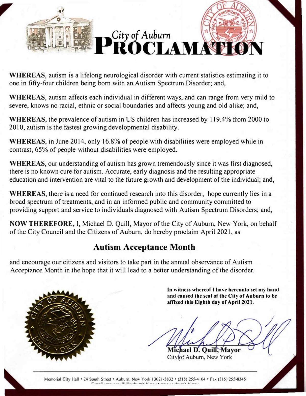 Autism Acceptance Month proclamation