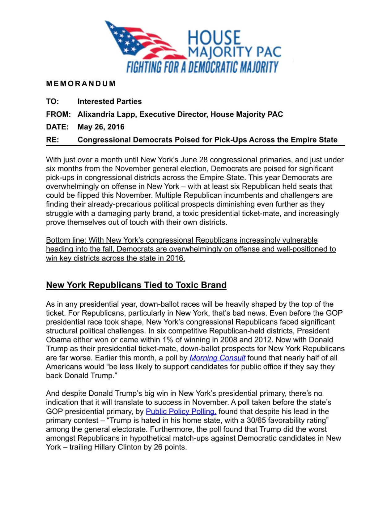 Download PDF House Majority PAC New York Memo