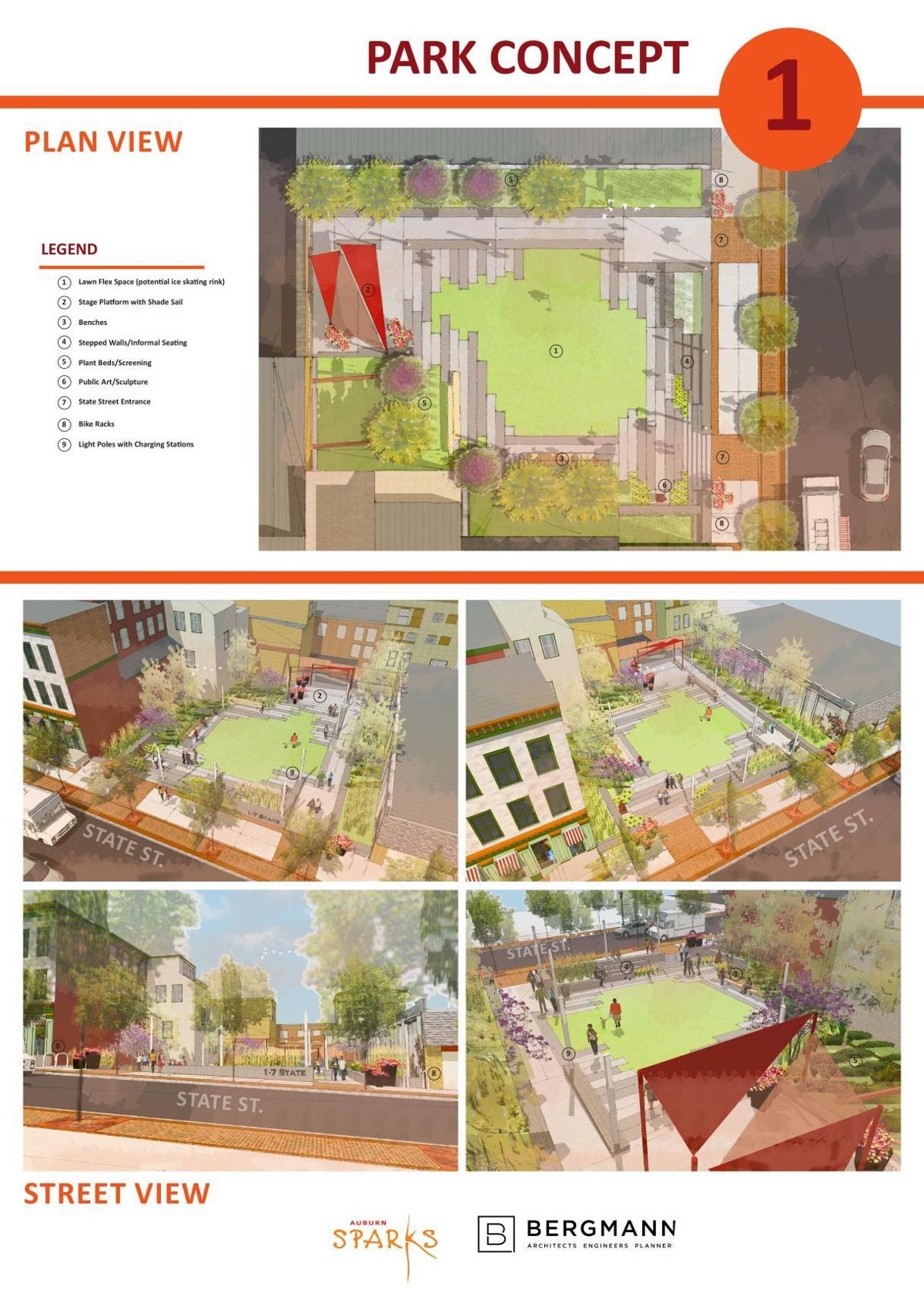 Park design concepts for 1-7 State St.