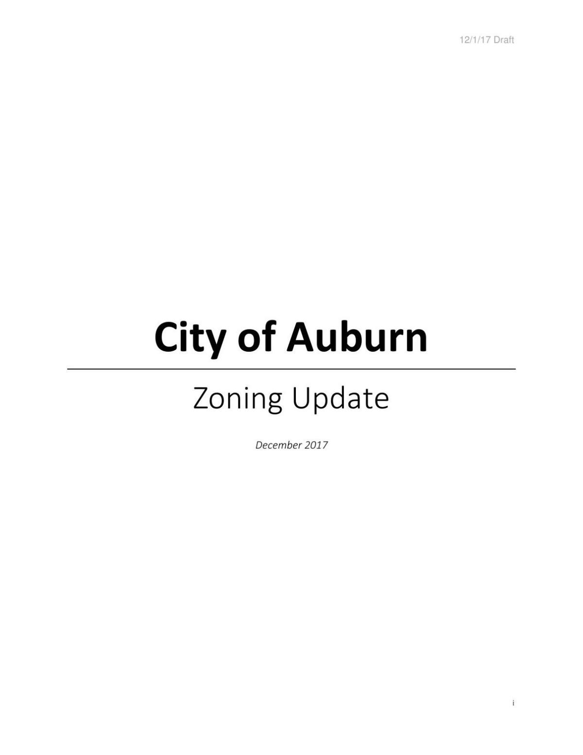 City of Auburn zoning code final draft
