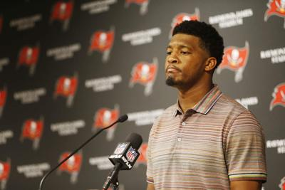 Tampa Bay Buccaneers quarterback Jameis Winston takes questions during a news conference at Raymond James Stadium in Tampa, Fla., on December 29, 2019.