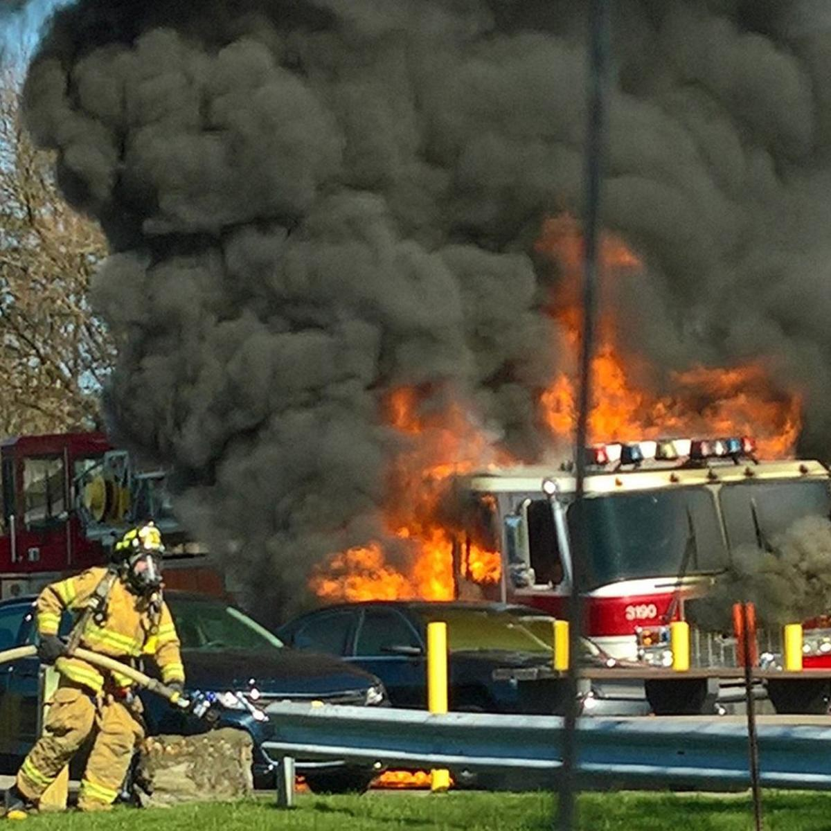 Fire truck being driven to Canada catches fire near Syracuse