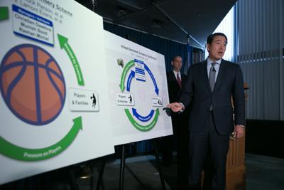 Acting U.S. Attorney Joon H. Kim speaks during a news conference at the U.S. Attorney's Office, Southern District of New York, on September 26, 2017, announcing charges of fraud and corruption in college basketball. (Kevin Hagen/Getty Images/TNS) **FOR USE WITH THIS STORY ONLY**