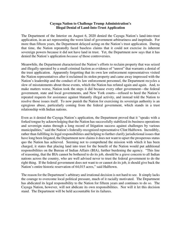 Cayuga Nation statement