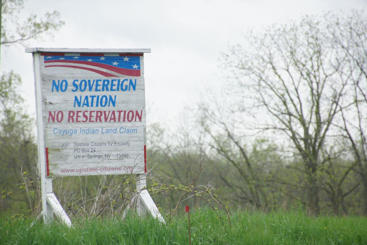 Cayuga Nation protest sign