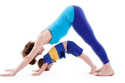 famili doing yoga