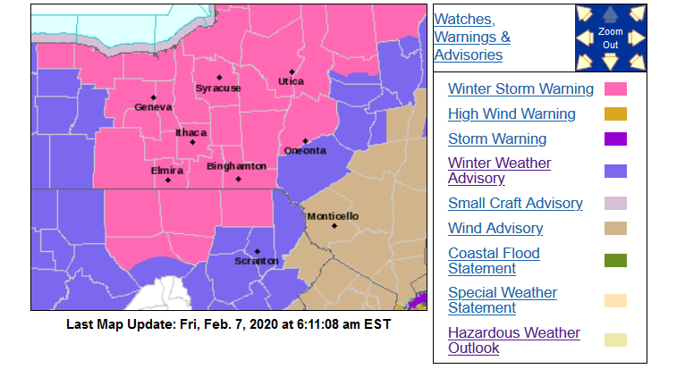 Feb. 6-7 winter storm warning