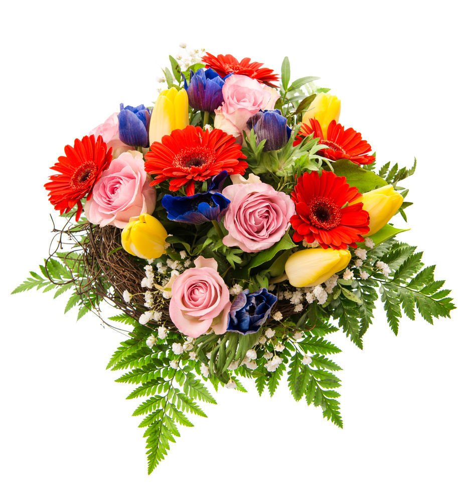 fresh colorful spring flowers bouquet