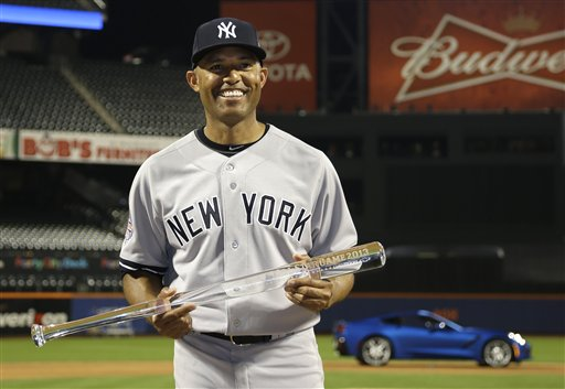 American Leagues Mariano Rivera Of The New York Yankees Poses With MVP Trophy After MLB All Star Baseball Game On Tuesday July 16 2013