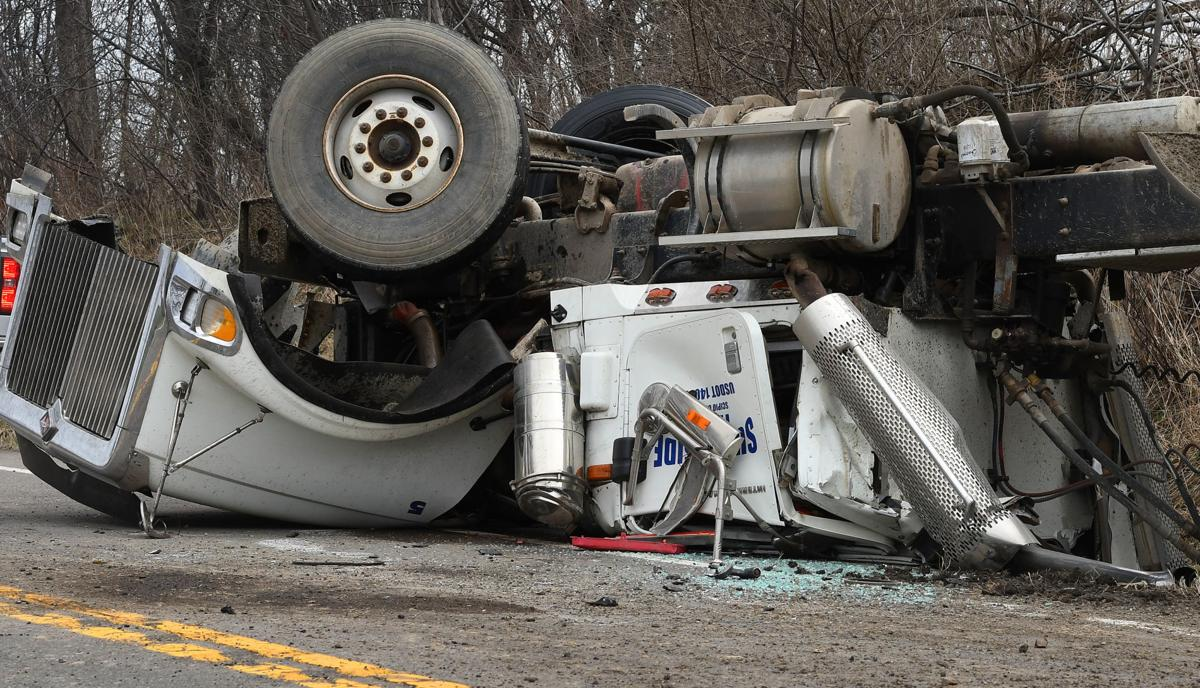 Manure Truck Rolled : Manure truck rolls over spills some contents in cayuga