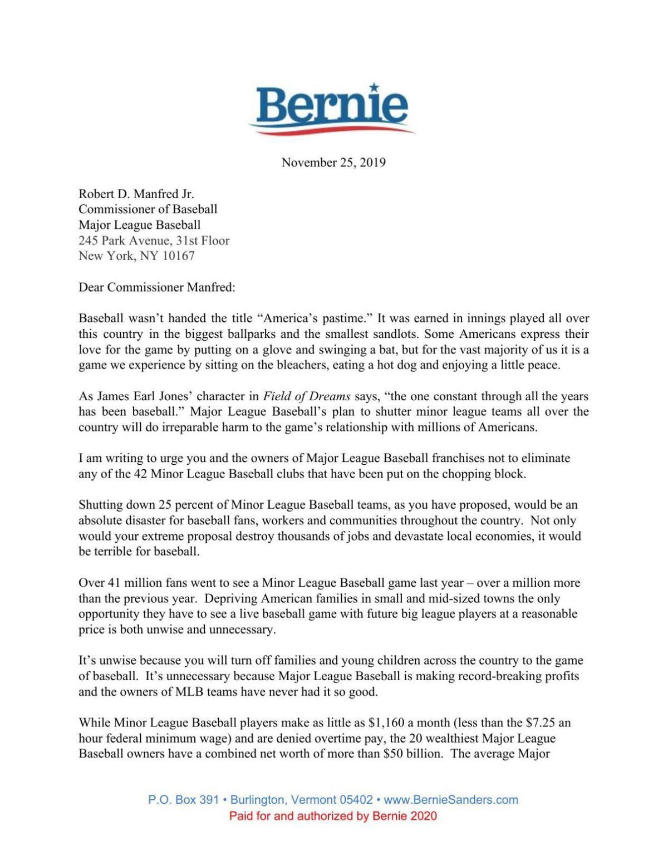 Sanders to MLB letter
