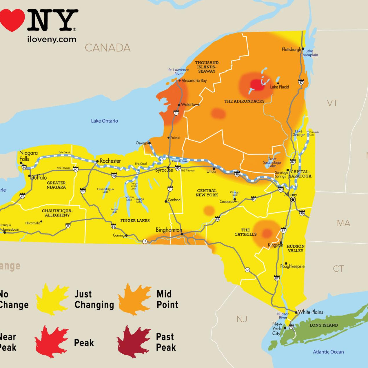 Foliage Map New York 2017.New York State Fall Foliage Report For Week Of Oct 3