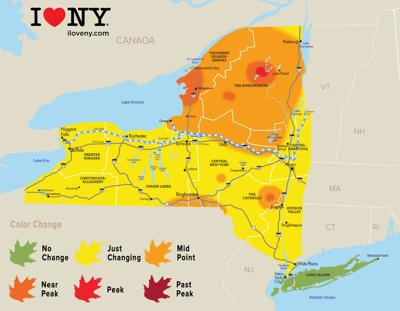 Map Of New York State And Canada.New York State Fall Foliage Report For Week Of Oct 3 Local News