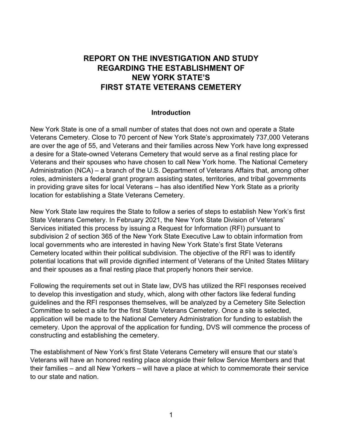 Report on establishment of first state veterans cemetery