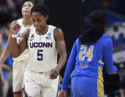 Connecticut's Crystal Dangerfield (5) in an NCAA Tournament East Regional semifinal at the Times Union Center in Albany, N.Y., on March 29, 2019.