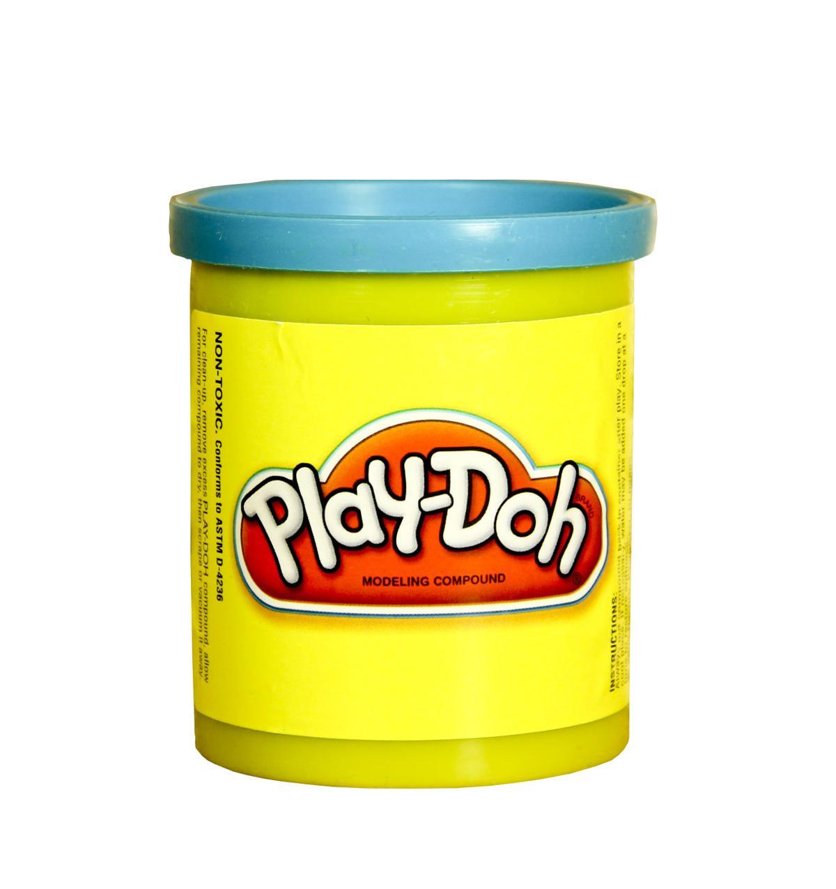 plastic jar of blue Play-Doh