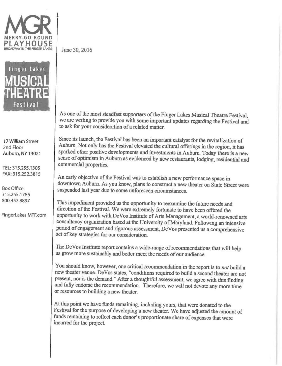 Finger Lakes Musical Theatre Festival summer 2016 letter to donors