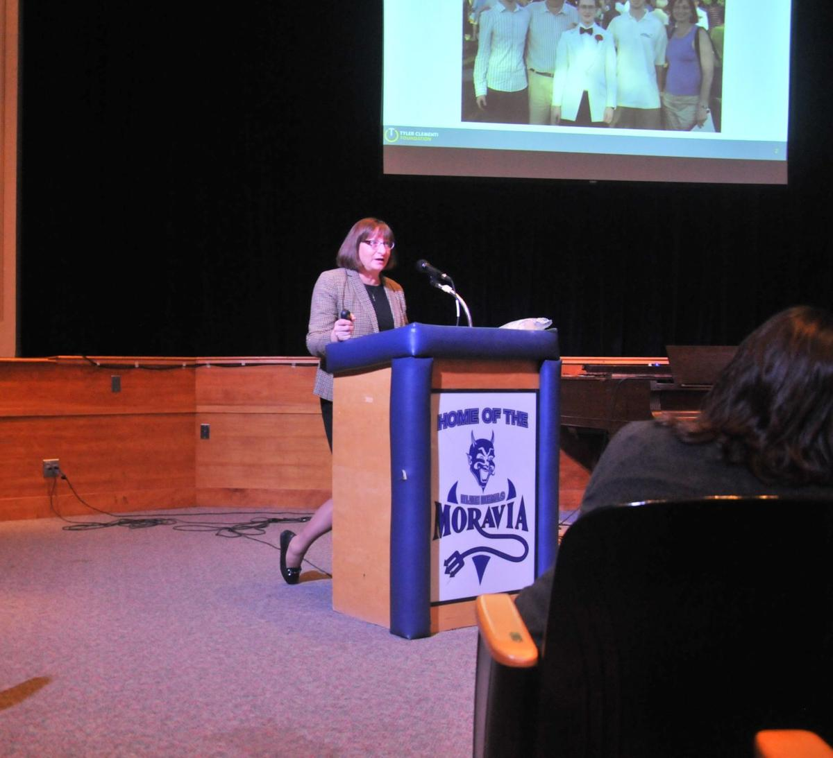 Mother of bullying victim urges Moravia High School students to be compassionate