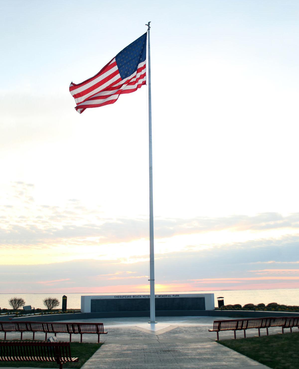 Chesapeake Beach Veterans' Memorial at sunrise