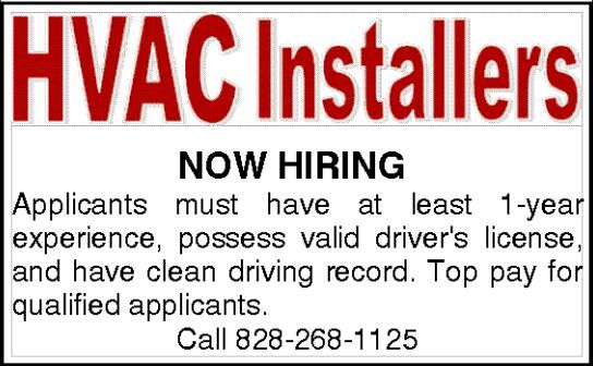 HVAC INSTALLERS WANTED!