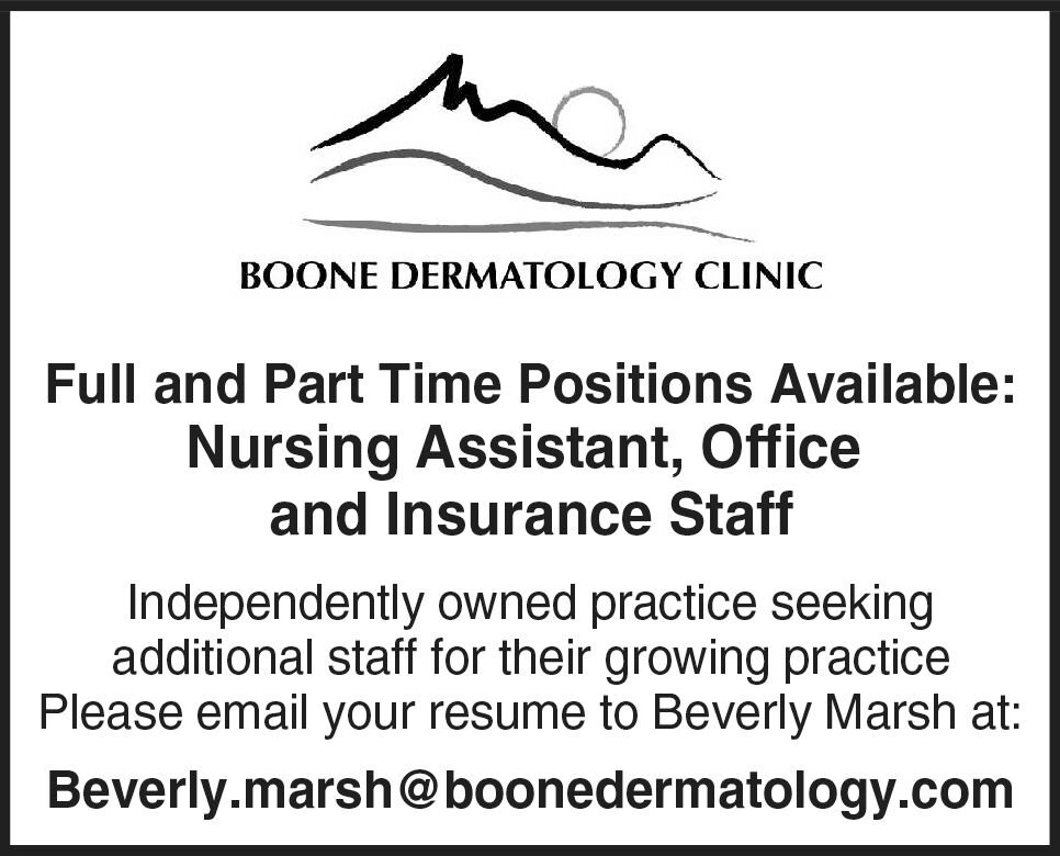 Full and Part Time Positions Available at Boone Dermatology