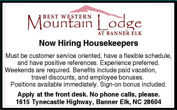Now Hiring Housekeepers!!
