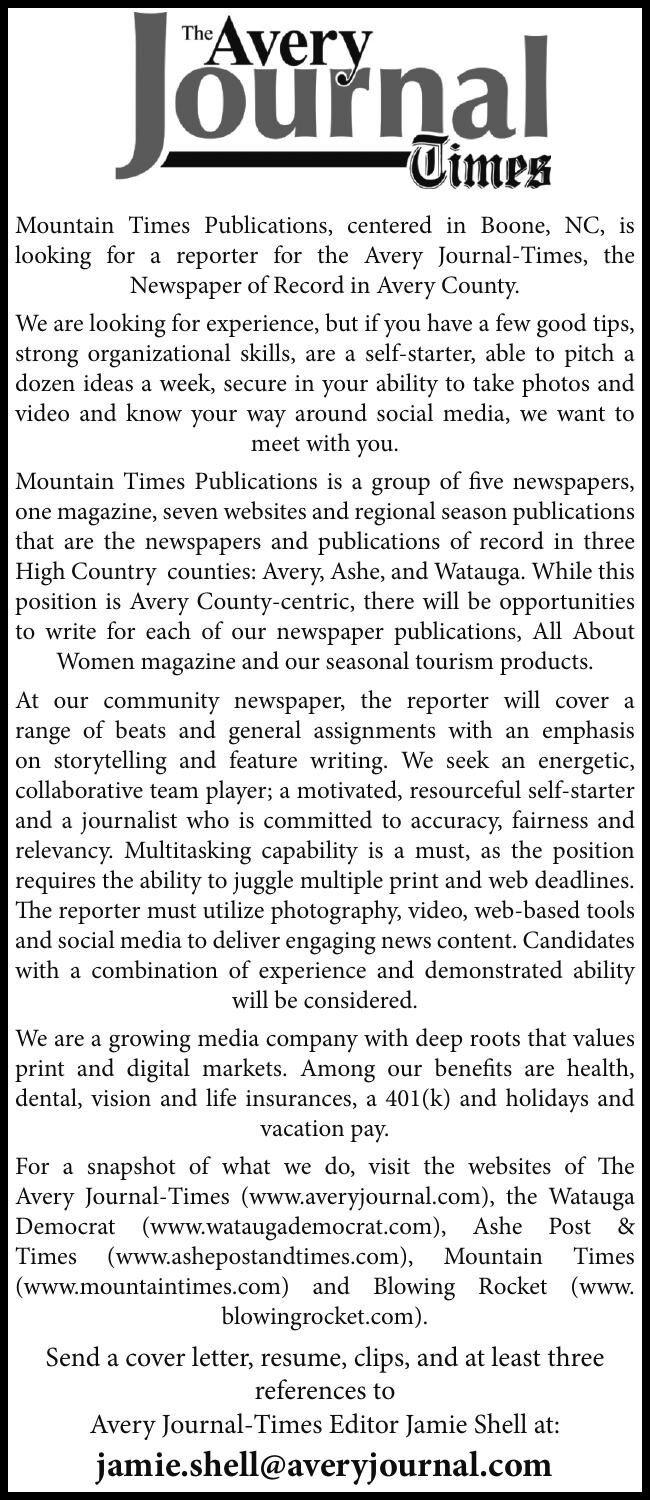 Avery Journal-Times Reporter Position Available