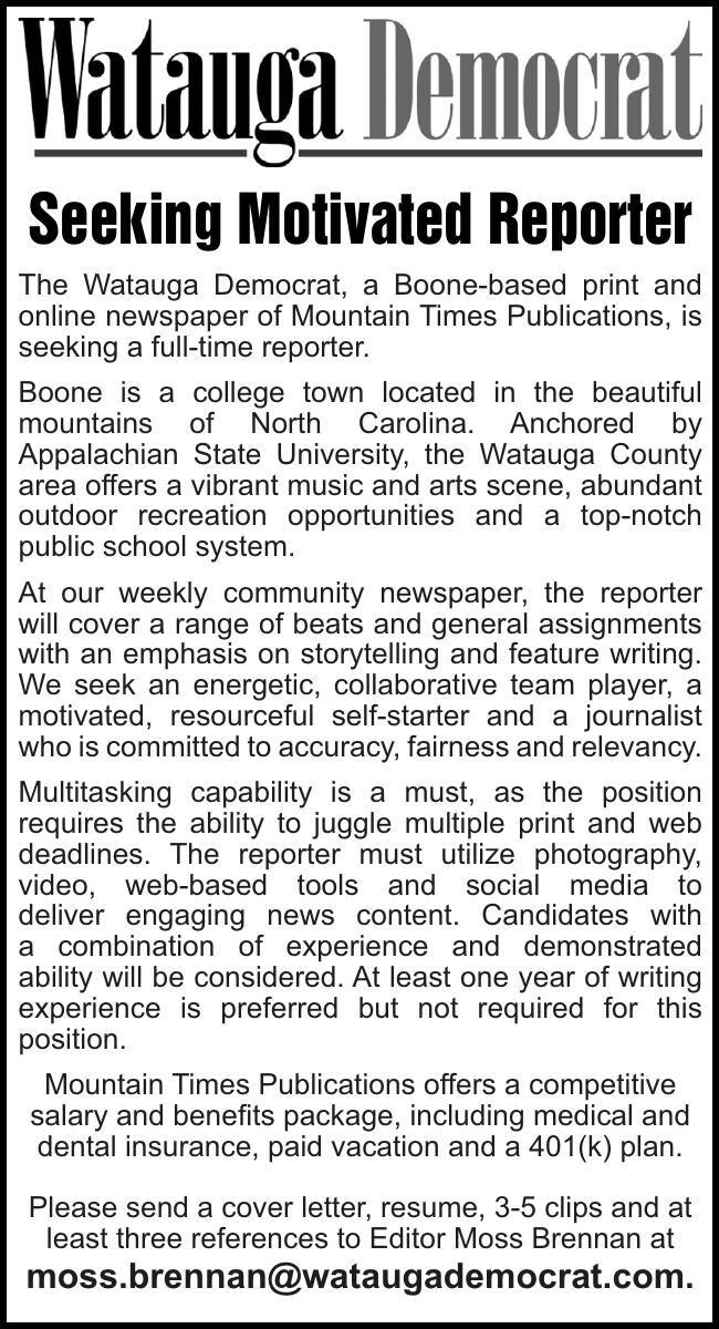 Seeking Motivated Reporter