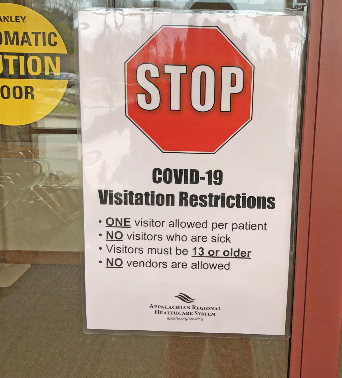 Restriction sign at front door of CMH