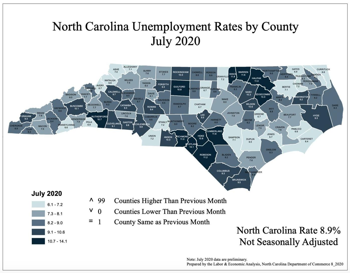 July 2020 Employment map