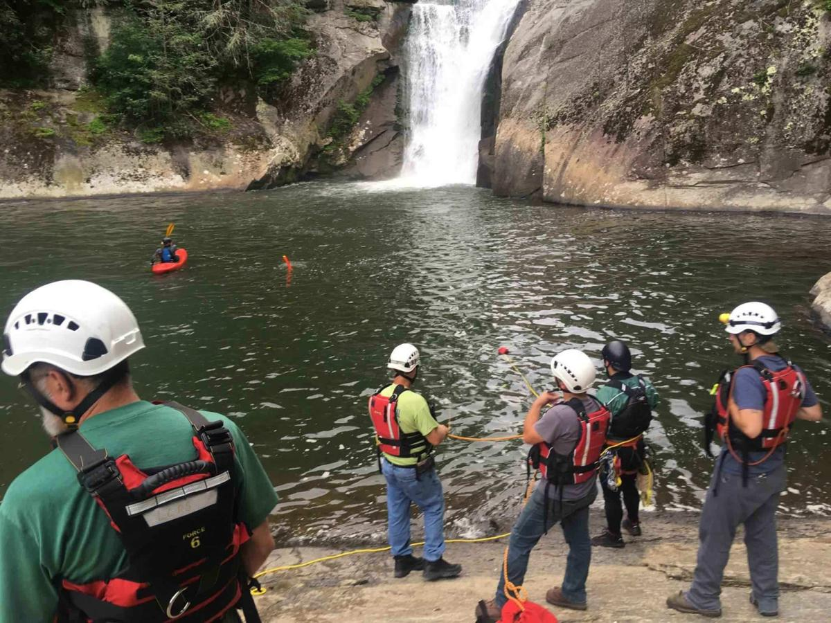 Rescue workers at Elk Falls