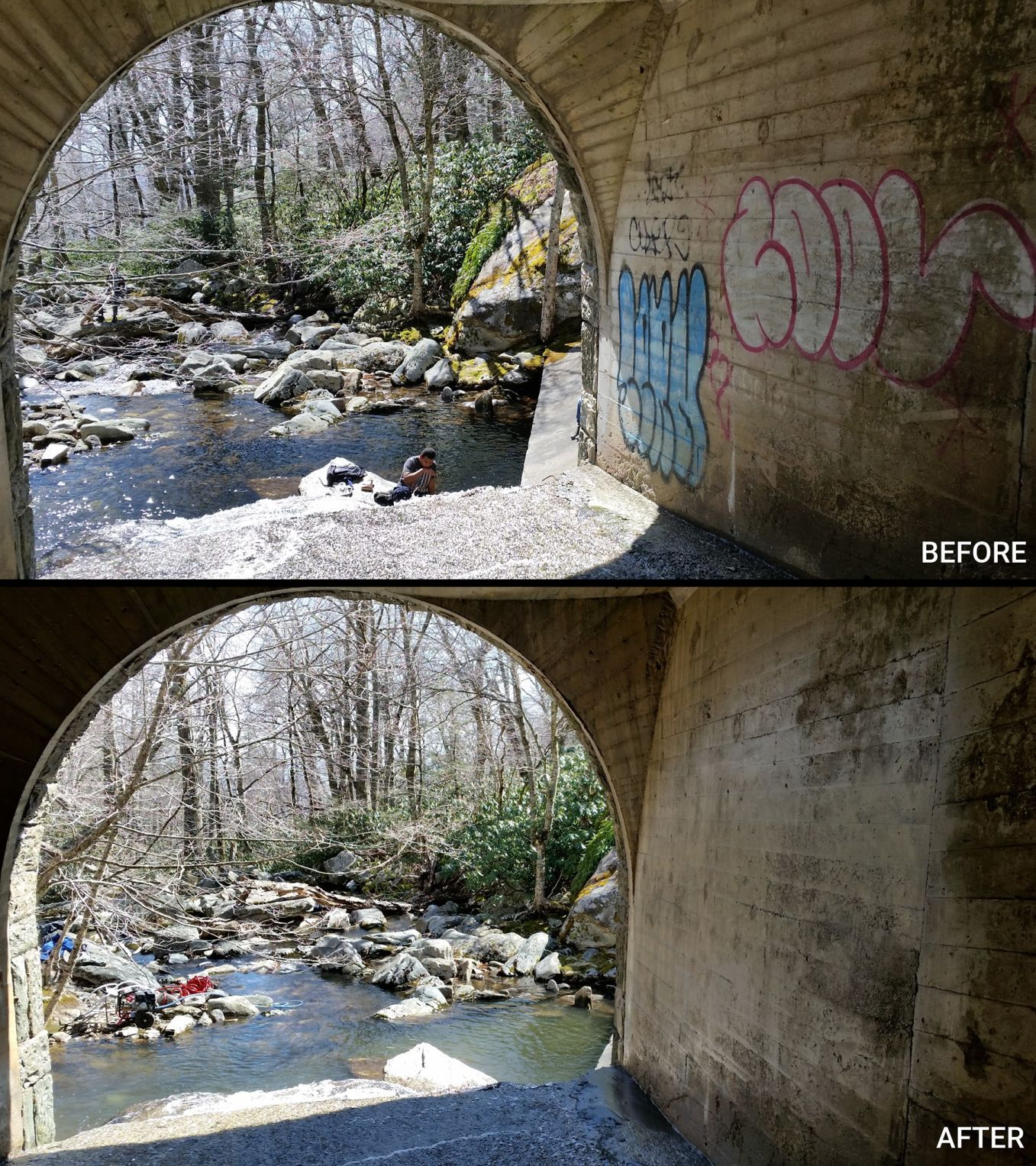 Before and after of tunnel