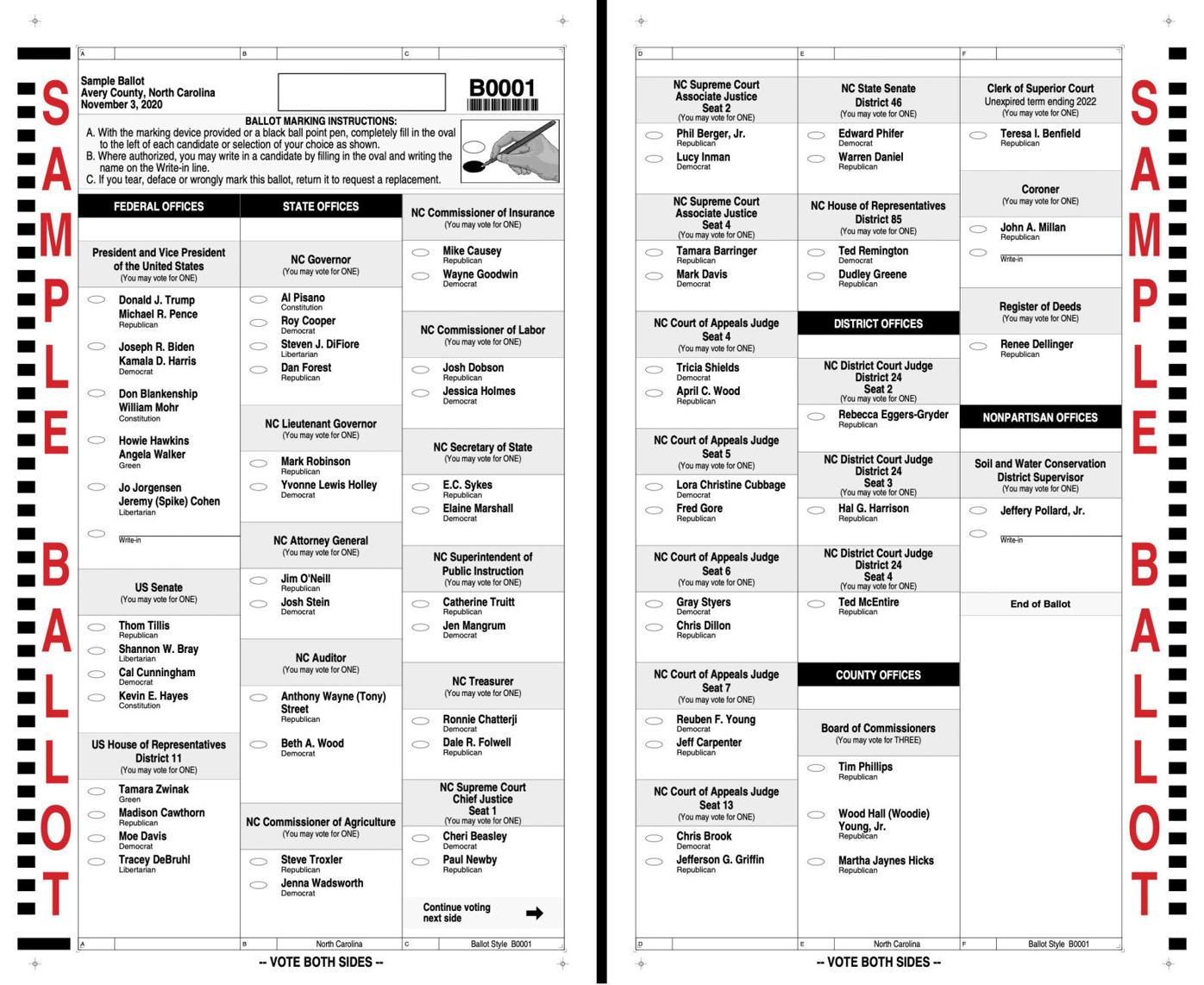 2020 General Election Sample Ballot Avery County