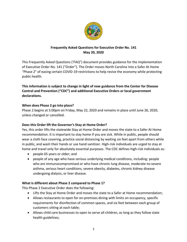 FAQ for Executive Order No. 141