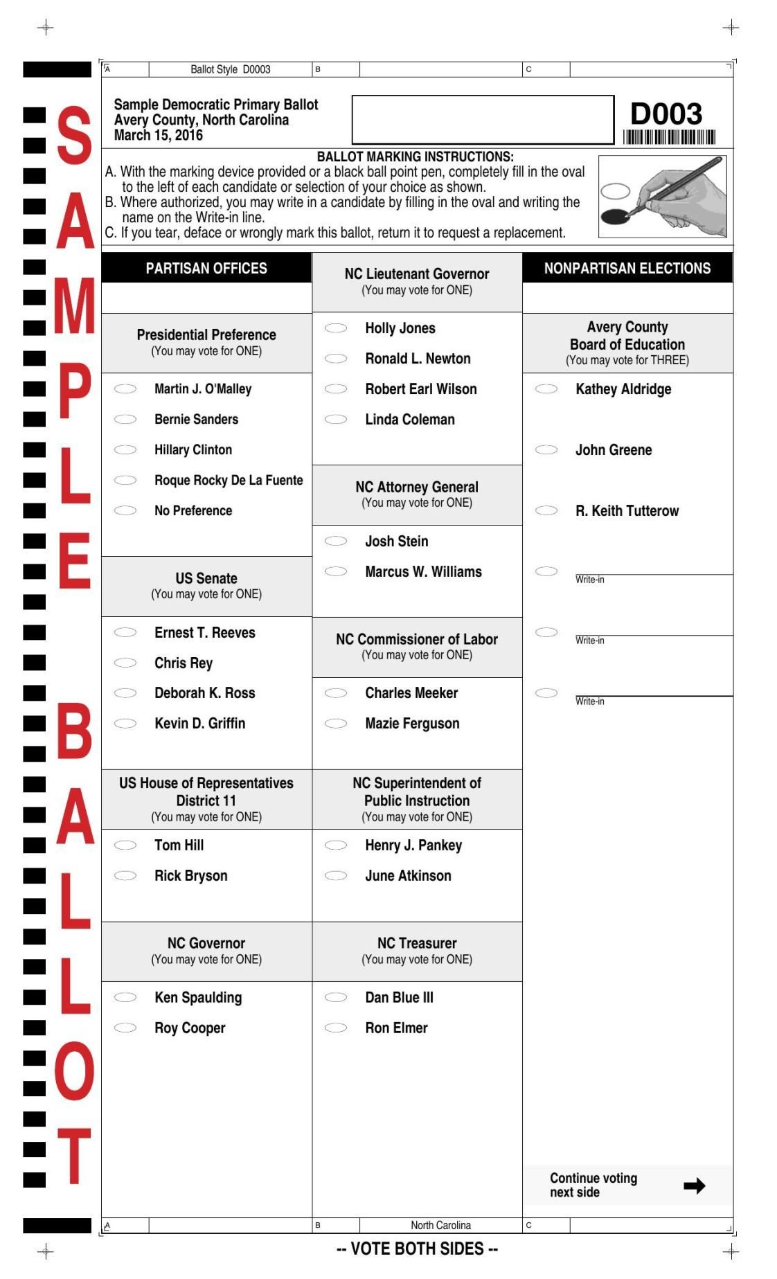 2016 Primary Sample Ballots | News | averyjournal.com