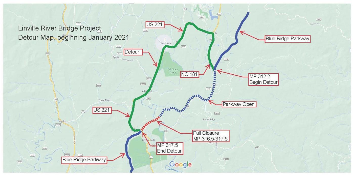 Map of repair work at Linville River Bridge 2021