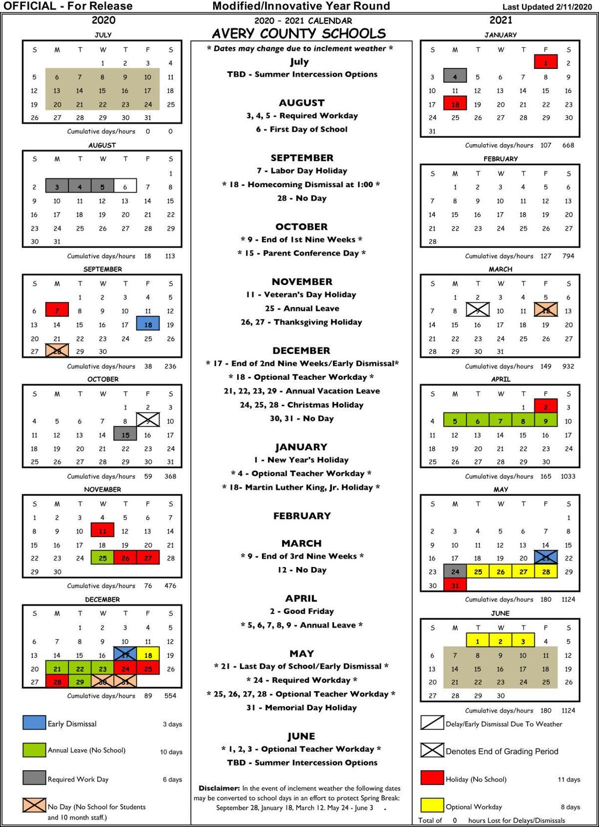 Avery HS 2020-21 calendar