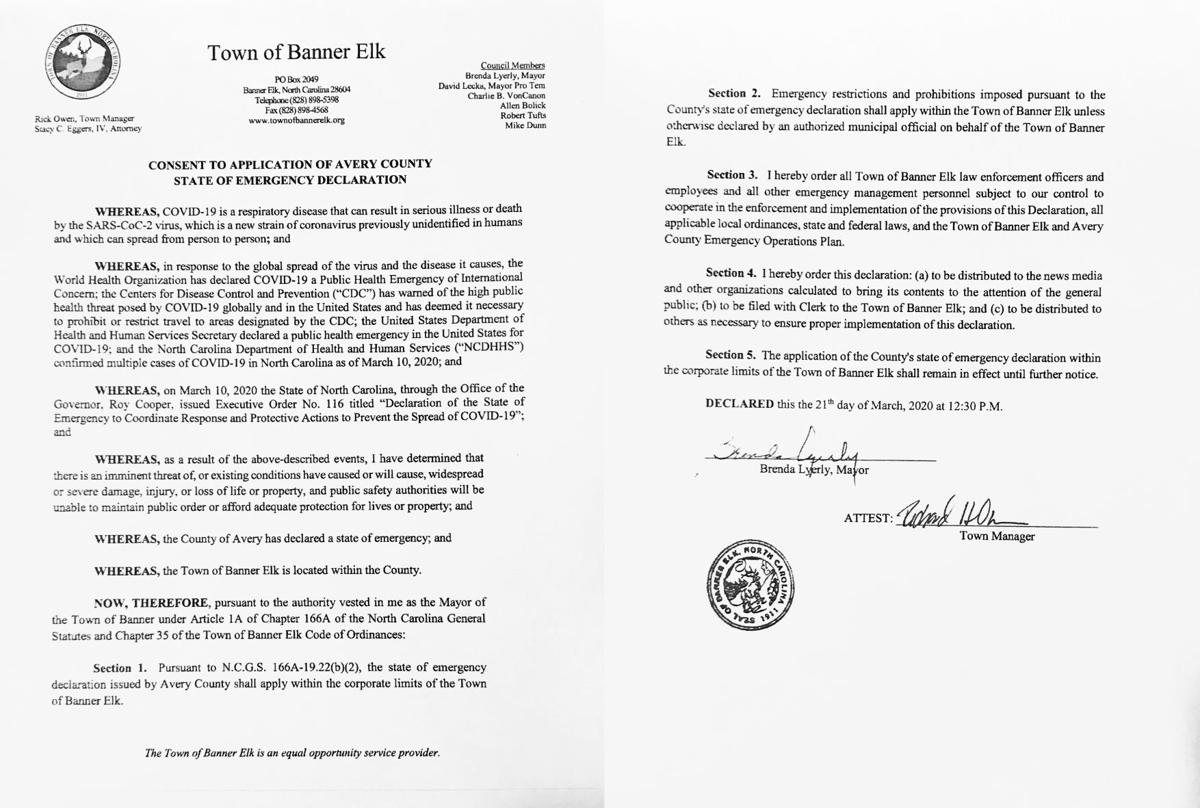 Consent to Application of Avery County State of Emergency Declaration