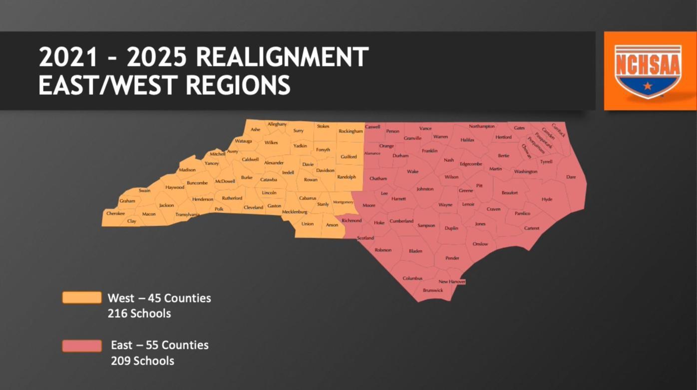 NCHSAA realignment regions