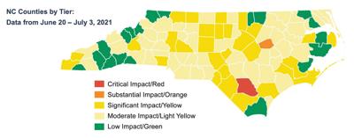 NC County Alert Map June 20-July 3, 2021
