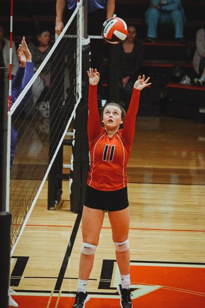 Hayes sets volleyball at away match