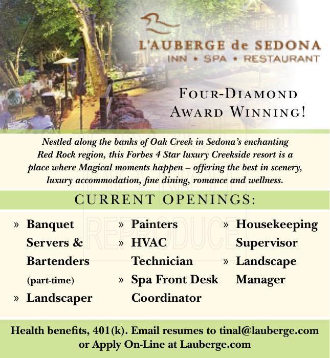Banquet Servers & Bartenders PT, Housekeeping Supervisor, Landscape, Painters, HVAC, and more!