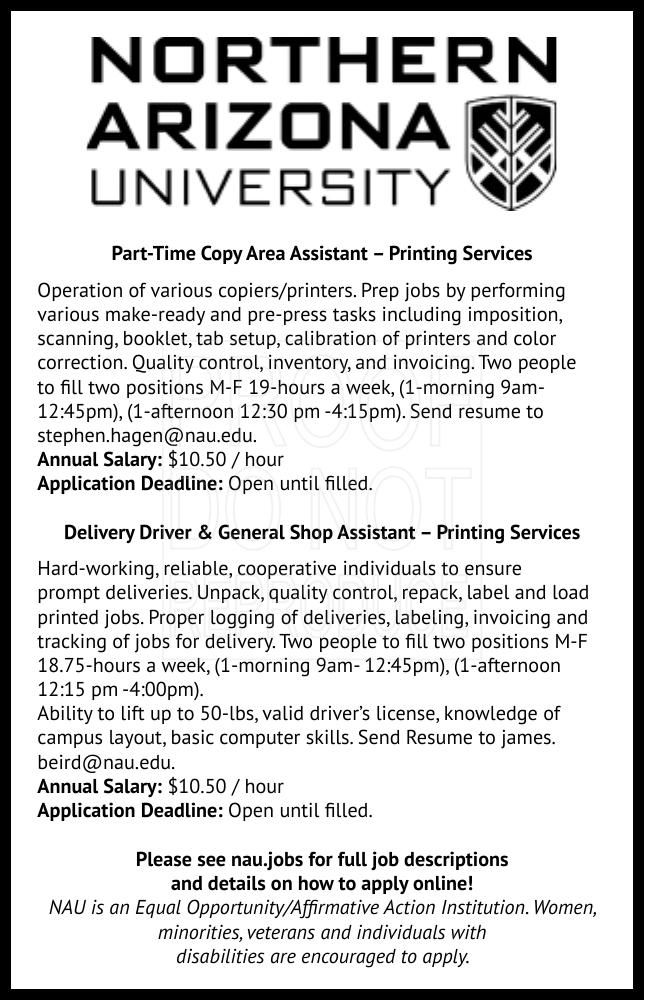Part-Time Copy Area Assistant – Printing Services